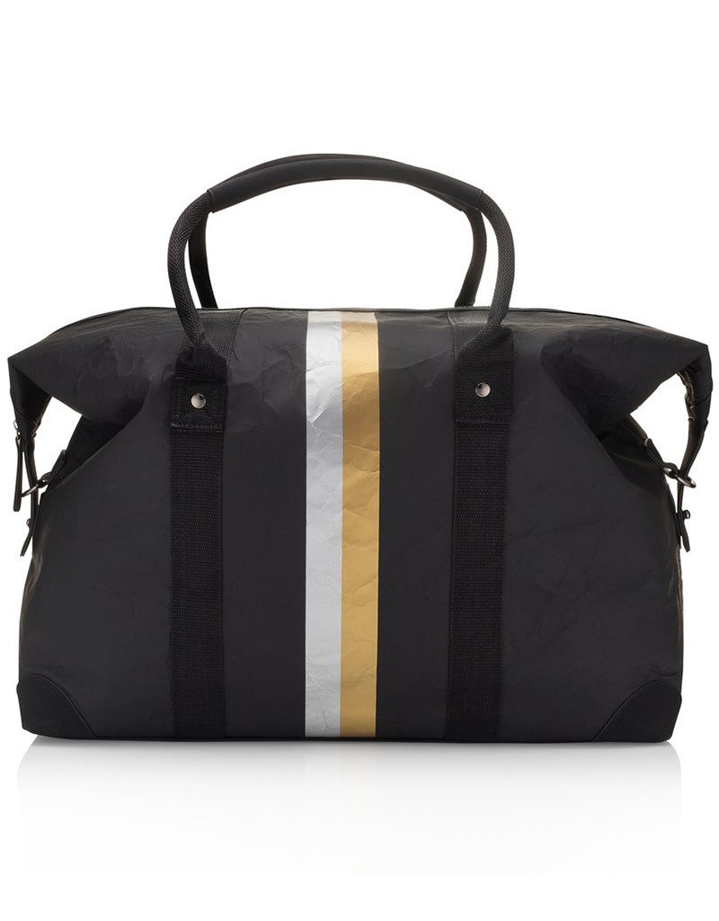 HI LOVE TRAVEL THE WEEKENDER – BLACK WITH METALLIC DOUBLE LINE