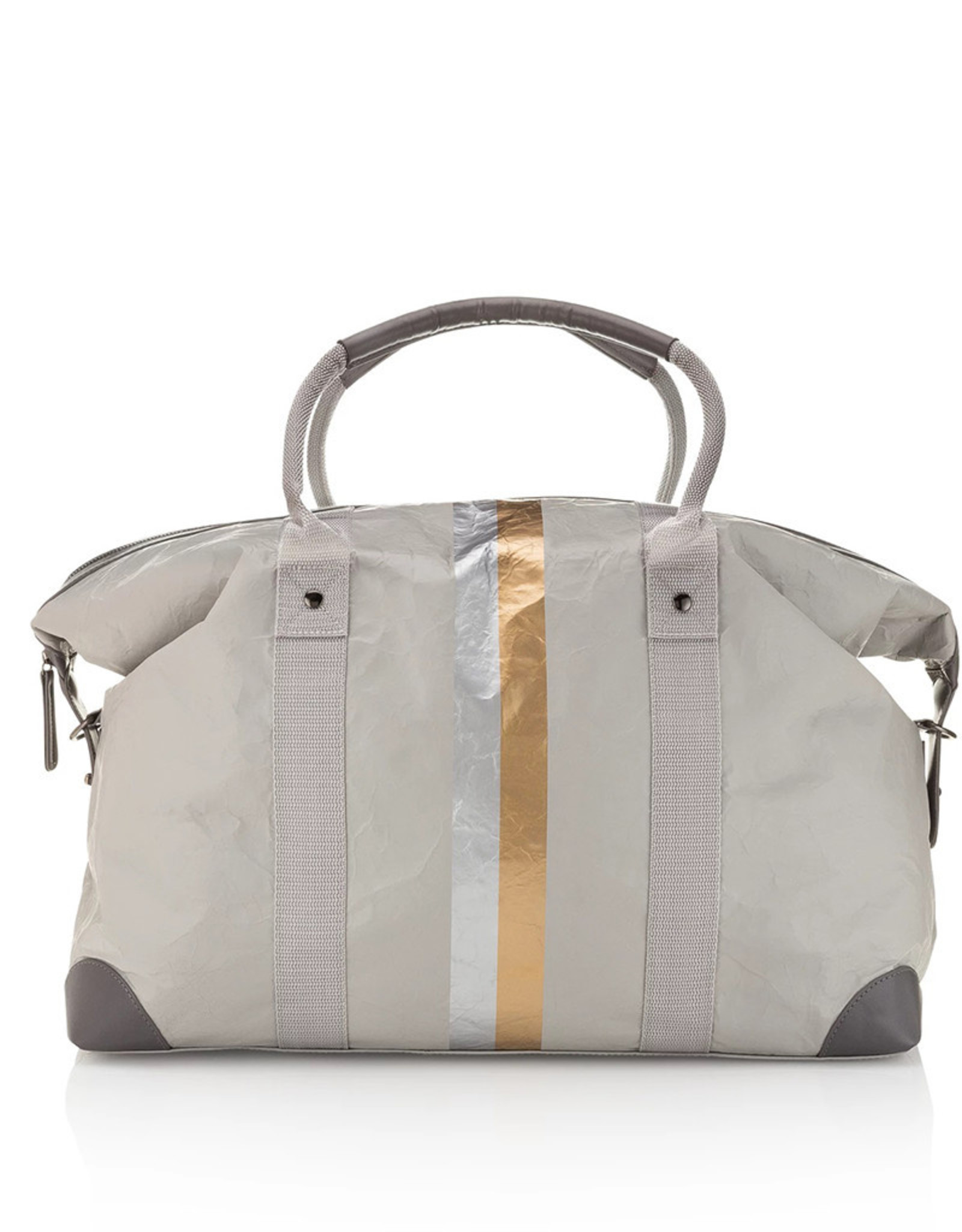 HI LOVE TRAVEL THE WEEKENDER-GRAY WITH METALLIC DOUBLE LINE