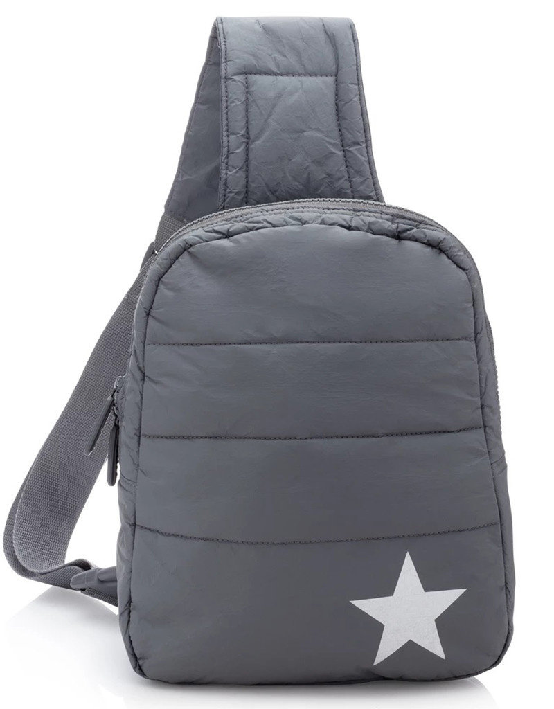 HI LOVE TRAVEL CROSSBODY BACKPACK-COOL GREY WITH A METALLIC SILVER STAR