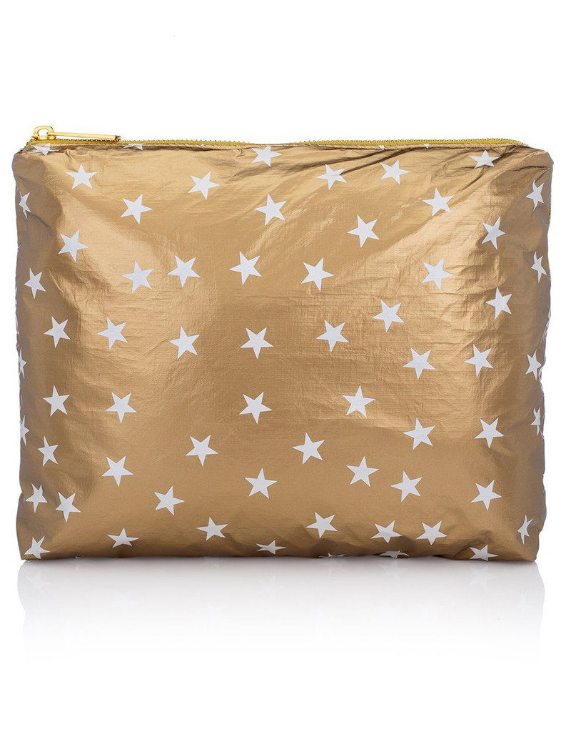 HI LOVE TRAVEL MEDIUM PACK-METALLIC GOLD HLT COLLECTION WITH MYRIAD OF WHITE STARS