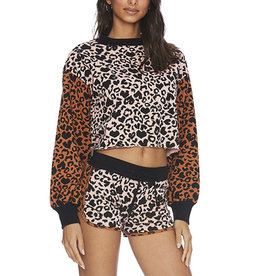 BEACH RIOT AVA SWEATSHIRT LOVE LEOPARD