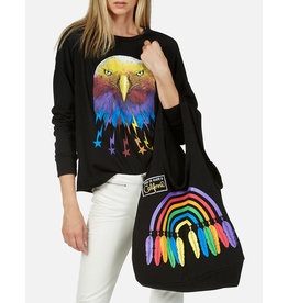 LAUREN MOSHI TAYLOR TOTE FEATHER RAINBOW