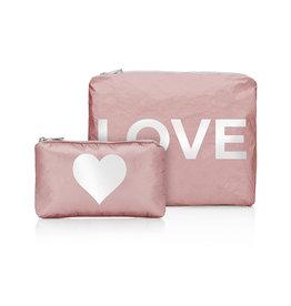 """HI LOVE TRAVEL SET OF 2-SHIMMERING PINK SANDS WITH """"LOVE & HEART"""