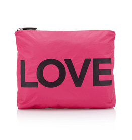 "HI LOVE TRAVEL MEDIUM PACK-PINK PEACOCK WITH ""LOVE"""