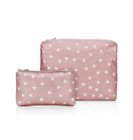 HI LOVE TRAVEL SET OF 2-SHIMMERING PINK SANDS WITH MYRIAD WHITE STARS