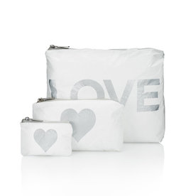 HI LOVE TRAVEL SET OF 3 PACKS-WHITE WITH METALLIC SILVER LOVE & HEART