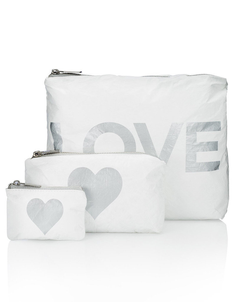 HI LOVE TRAVEL SET OF 3 PACKS-WHITE WITH METALLIC SILVER LOVE & HEART