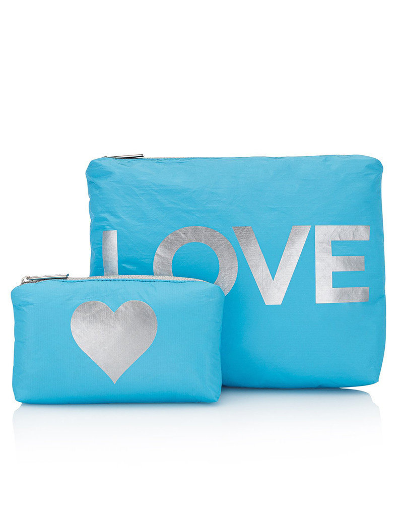 HI LOVE TRAVEL SET OF 2-SKY BLUE WITH SILVER LOVE & HEART