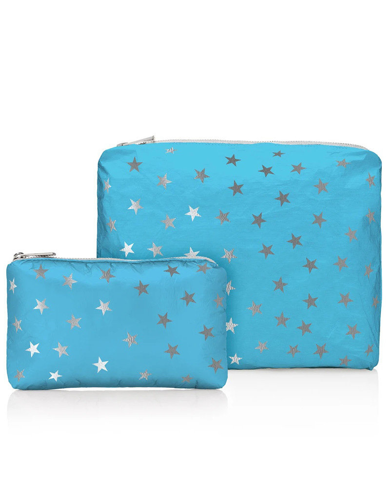 HI LOVE TRAVEL SET OF 2-SKY BLUE WITH MYRIAD SILVER STARS