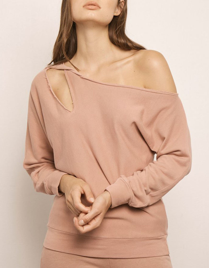 LANSTON CUTOUT ONE SHOULDER PULLOVER