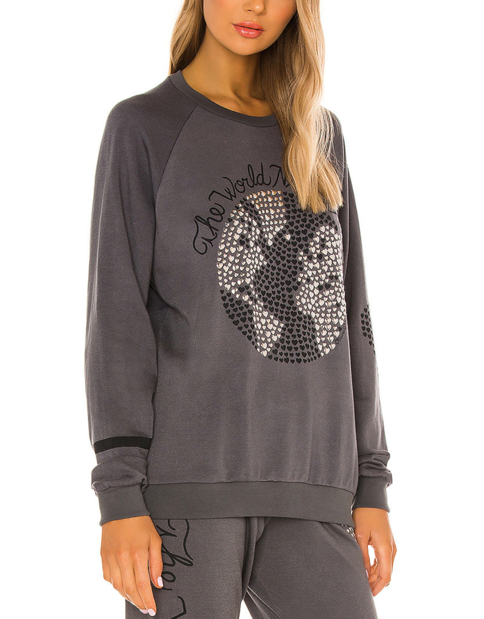 LAUREN MOSHI NOLETA WORLD NEEDS LOVE PULLOVER