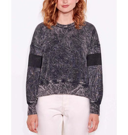 SUNDRY ACID WASH DOUBLE ZIP SWEATSHIRT