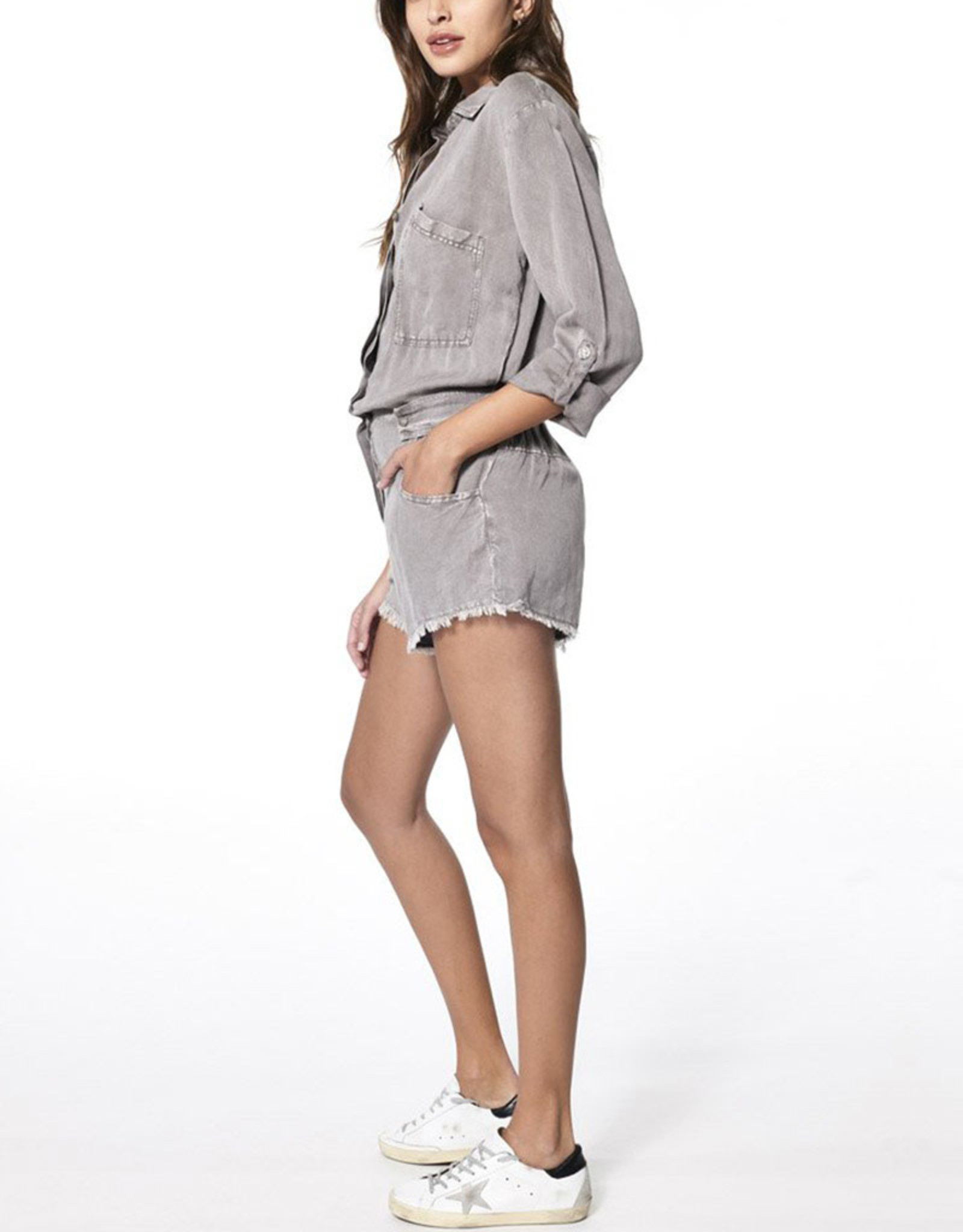 YOUNG FABULOUS & BROKE RIVER RAW EDGE ROMPER // DRIFTWOOD MINERAL WASH
