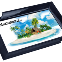 Margaritaville Chum Bucket 2-Stick Black Melamine Ashtray Beach Scene