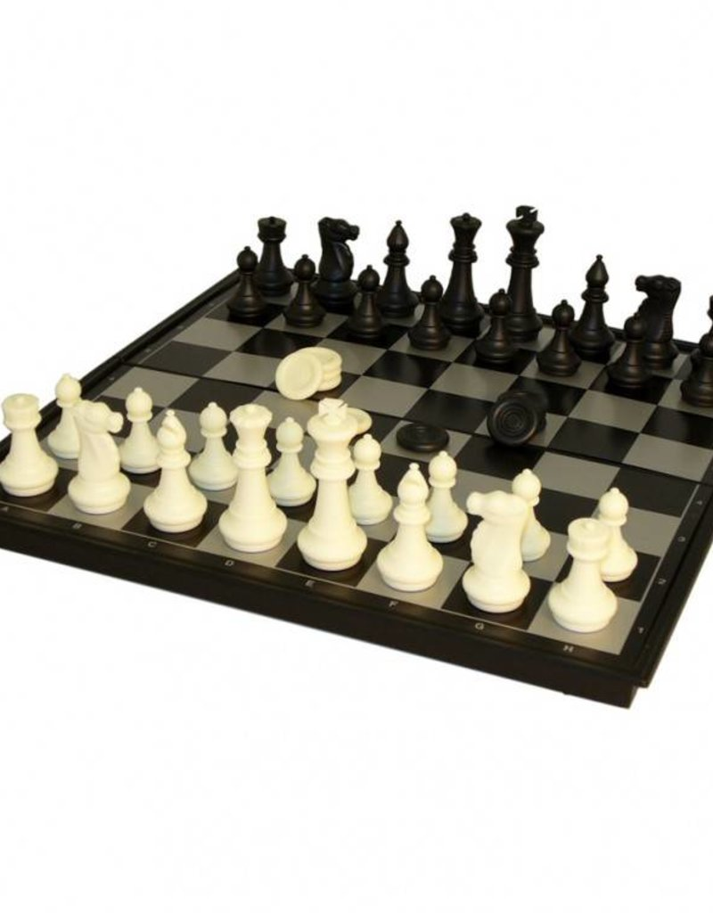 "Worldwise Imports 14"" Folding Mag Chess & Non-Mag Checkers Set"