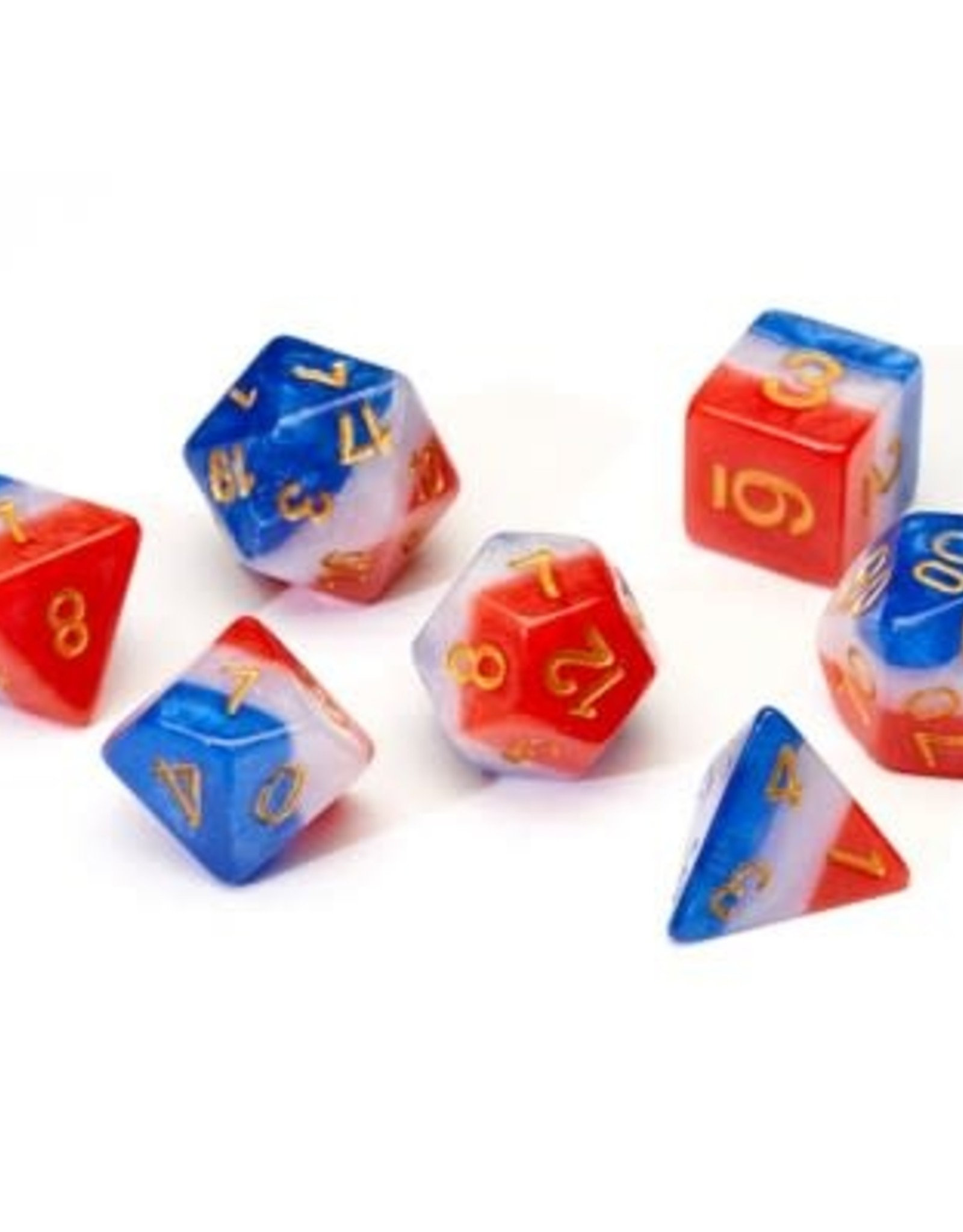 Sirius Dice Red, White, and Blue Semi-Transparent Resin 7-Die Set