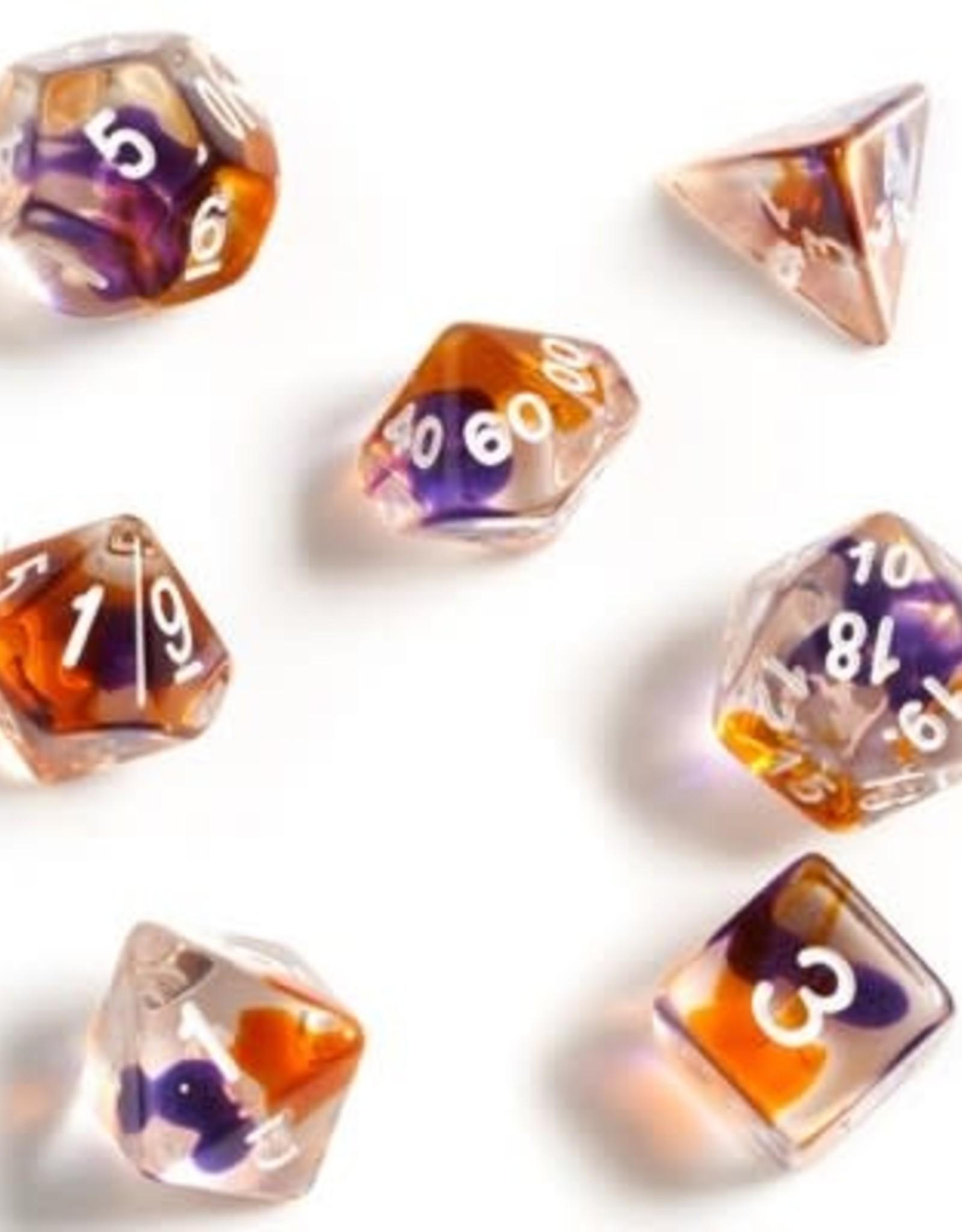 Sirius Dice Purple, Orange, Clear 7-die set