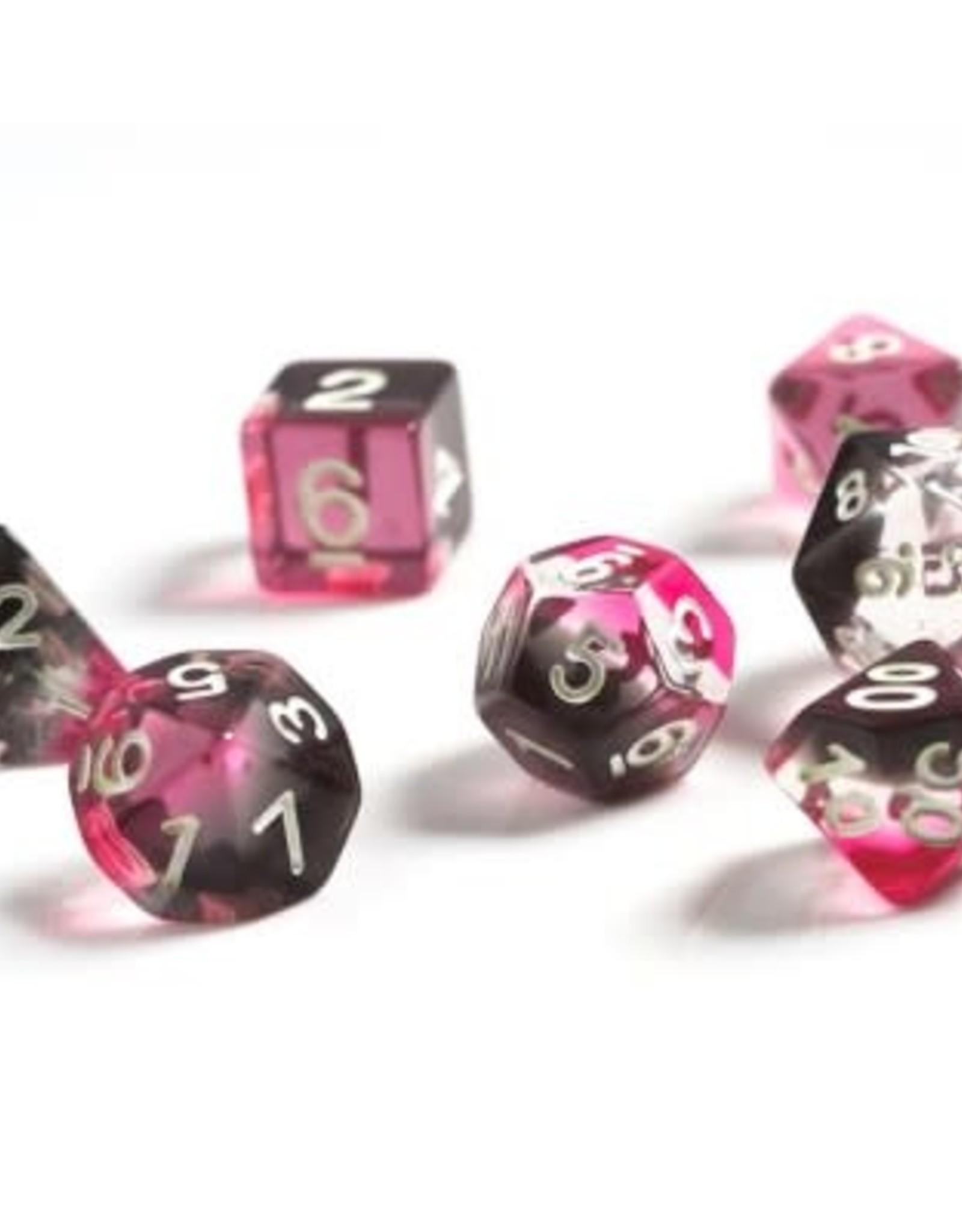 Sirius Dice Pink, Clear, Black Resin 7-die set