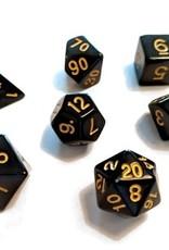 Sirius Dice Solid Black, Gold Ink 7-die set