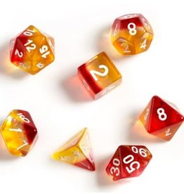 Sirius Dice Yellow, Red Translucent 7-die set
