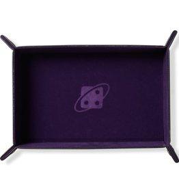 Sirius Dice Folding Dice Tray: Rectangle, Purple, Brass Buttons