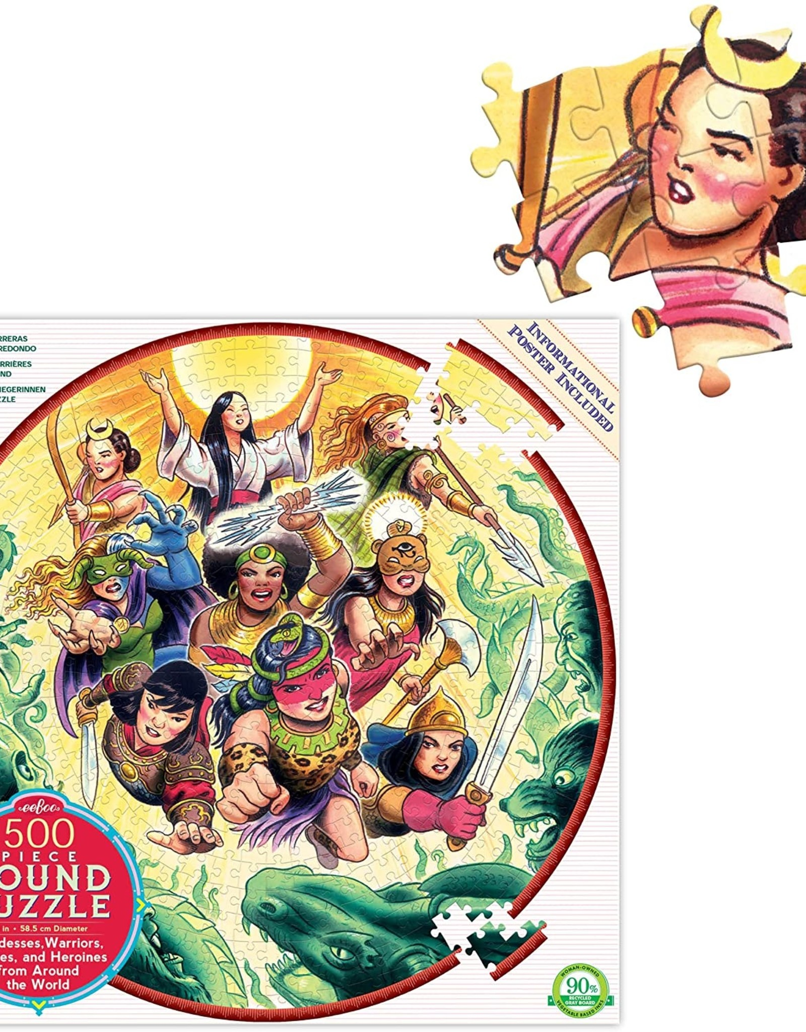 Eeboo 500 pc Round Goddesses and Warriors Puzzle