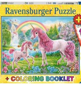 Ravensburger Puzzle 100 pc + Coloring Book: Magical Unicorns