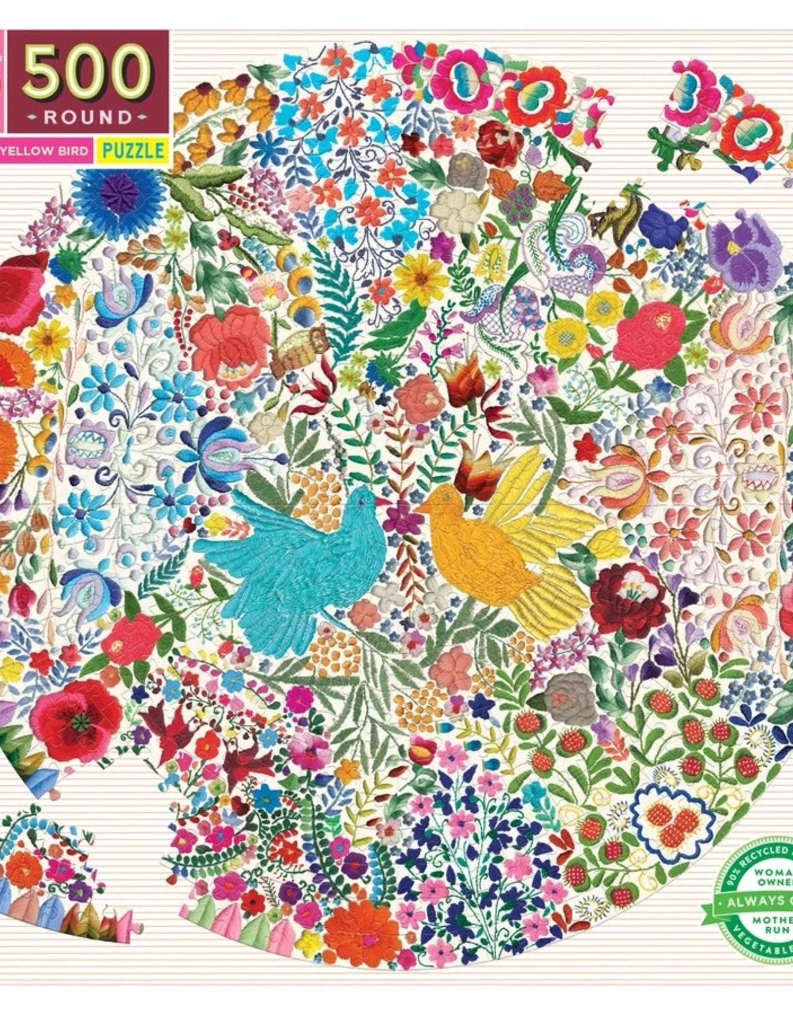 Eeboo 500pc Round Blue Bird Yellow Bird Puzzle