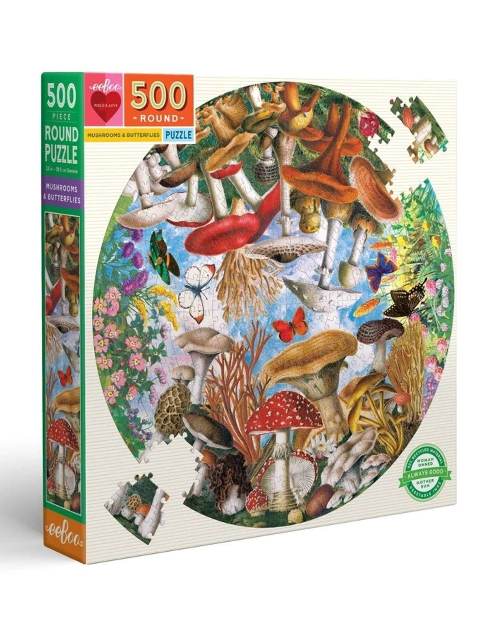 Eeboo 500pc Round Mushrooms and Butterflies Puzzle