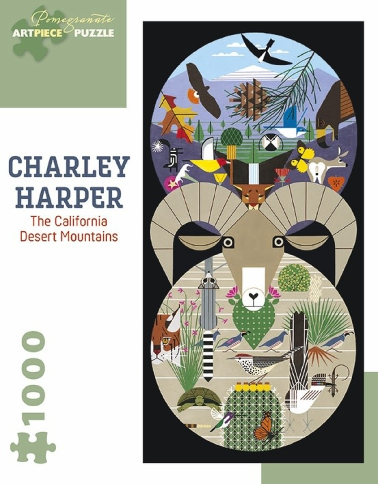 Pomegranate 1000 pc Charley Harper: The California Desert Mountains Puzzle