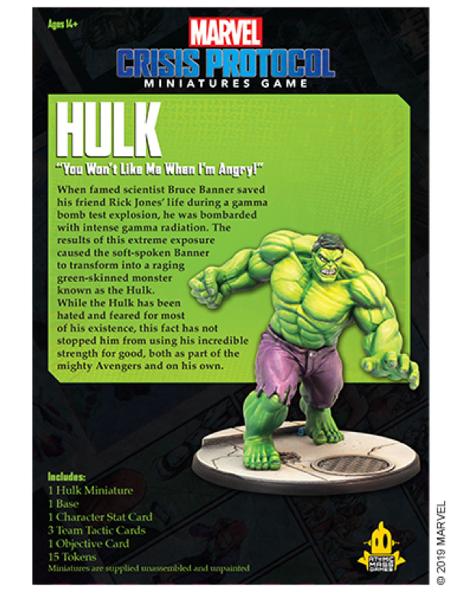 Atomic Mass Marvel Crisis Protocol Hulk Character Pack