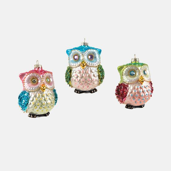 """Owl Ornament, 3 assorted eye color 4.25"""""""