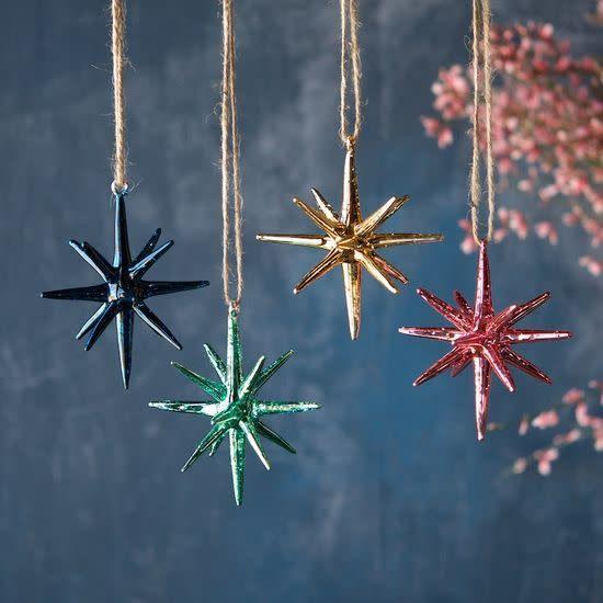 "GV Starburst Sparkle Ornamant, Assorted  4"""