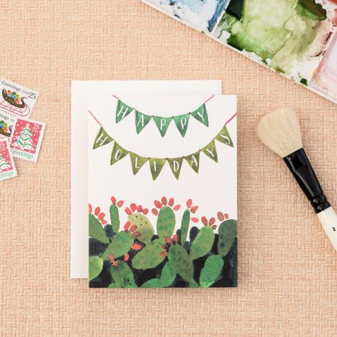 Cactus Pennant Holiday Greeting Card