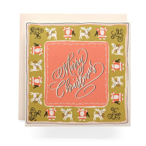 Handkerchief Christmas Greeting Card. Qty: 8