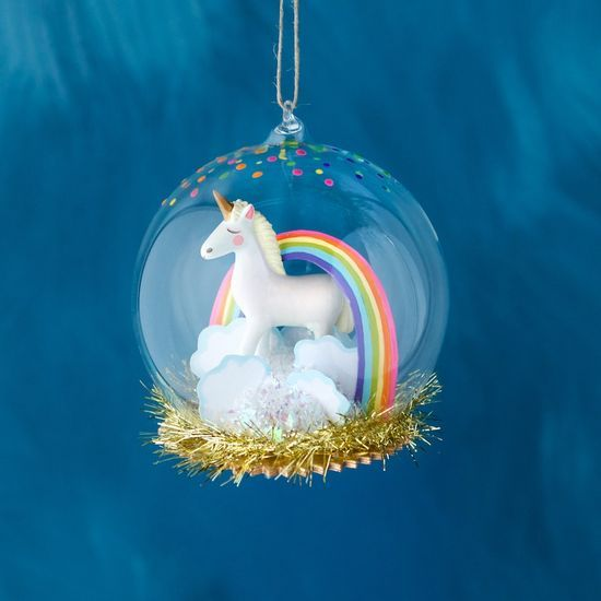 "Unicorn Dome Orn. 4.5"" Glass/Resin"