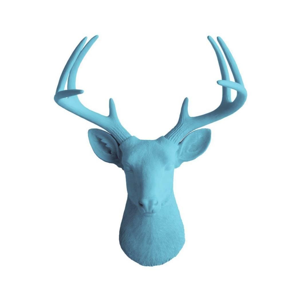 WallCharmers Virginia Large Deer Head Lake Blue