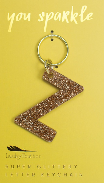 Lucky Feather Gold Glitter Keychain: Z