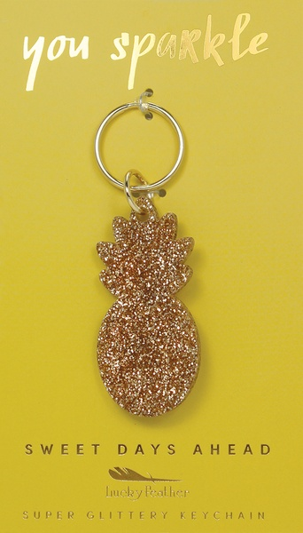 Lucky Feather Gold Glitter Keychain: Pineapple