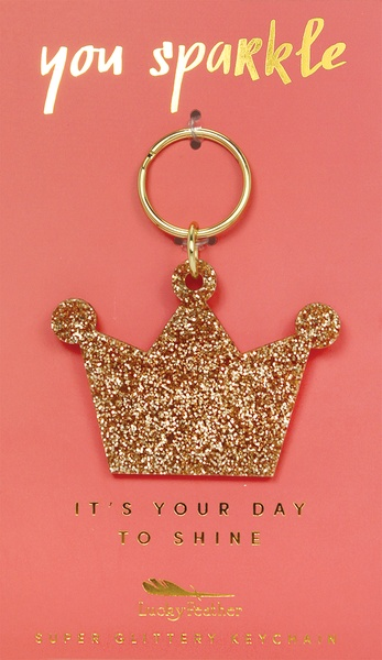 Lucky Feather Gold Glitter Keychain: Crown