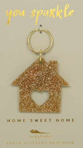 Lucky Feather Gold Glitter Keychain: House