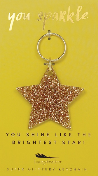 Lucky Feather Gold Glitter Keychain: Star