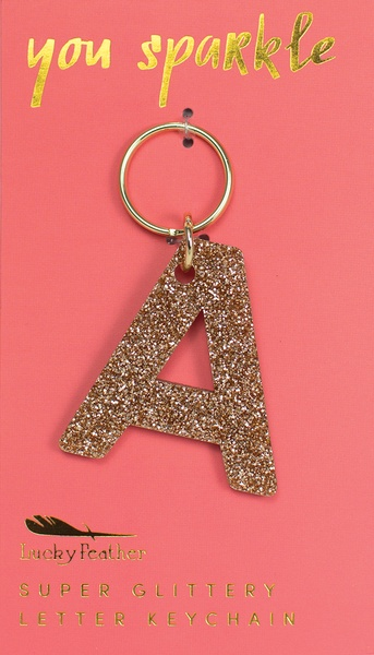 Lucky Feather Gold Glitter Keychain: A