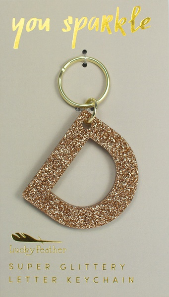 Lucky Feather Gold Glitter Keychain: D