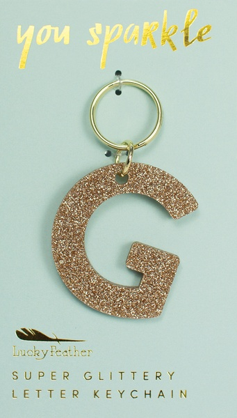 Lucky Feather Gold Glitter Keychain: G