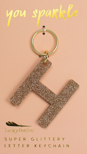 Lucky Feather Gold Glitter Keychain: H