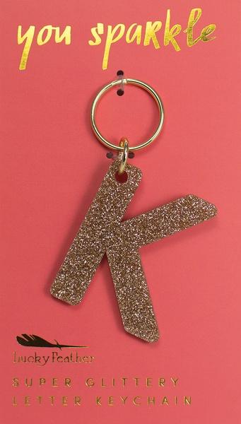 Lucky Feather Gold Glitter Keychain: K