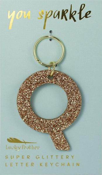 Lucky Feather Gold Glitter Keychain: Q