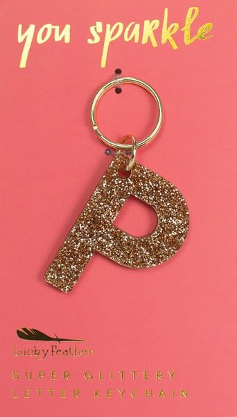Lucky Feather Gold Glitter Keychain: P