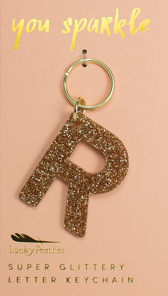 Lucky Feather Gold Glitter Keychain: R
